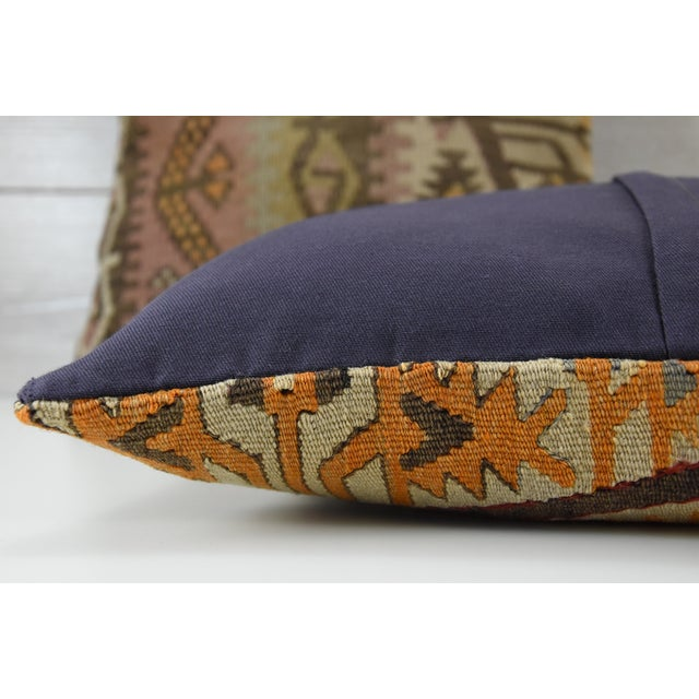 Turkish Tribal Hand-Knotted Vintage Kilim Cushion Cover - Pair - Image 4 of 5