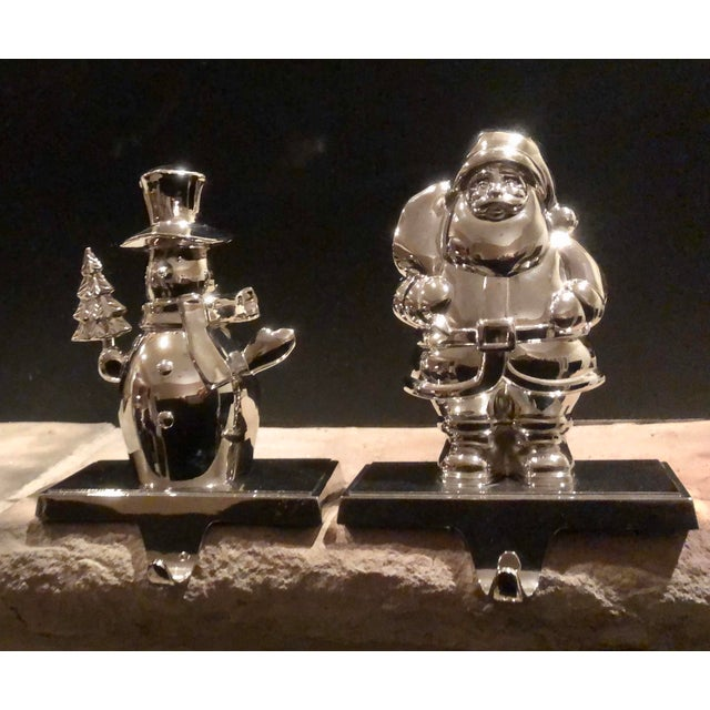 Vintage Stocking Hooks Christmas Silver Snowman and Santa - Set of 2 For Sale - Image 11 of 11