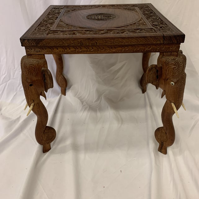 Anglo Indian Rosewood Elephant Accent Table For Sale - Image 11 of 11