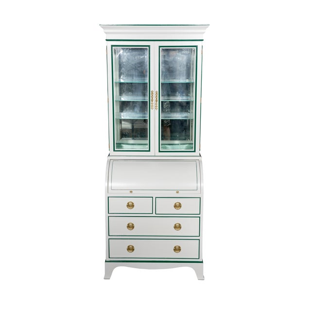 Vintage Heckman secretary newly lacquered in white with green interior. Beveled glass doors open to 3 glass shelves, faux-...