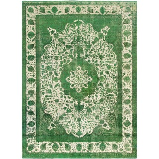"8'1"" X 11'0"" Green Hand-Knotted Rug For Sale"
