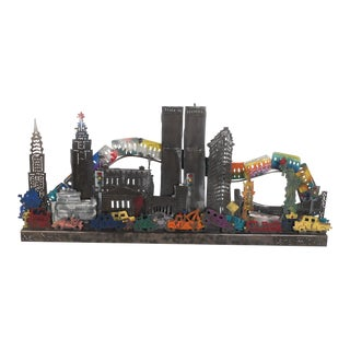 Mid-Century Style New York City Three Dimensional Metal Wall Art For Sale