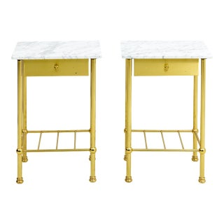 Mid-Century Modern Brass and Marble Side Tables - a Pair For Sale