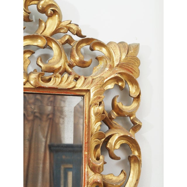 LARGE GILDED AND PIERCED CUSHION MIRROR For Sale - Image 4 of 8