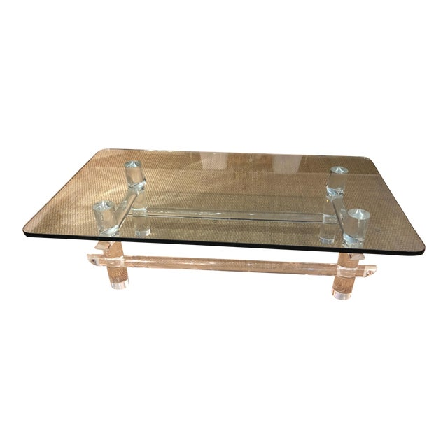 Lucite and Glass Coffee Table in the Style of Parzinger For Sale