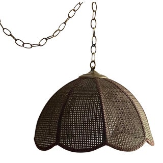 Mid Century Brown Wicker Swag/Pendant Lamp With Globe For Sale