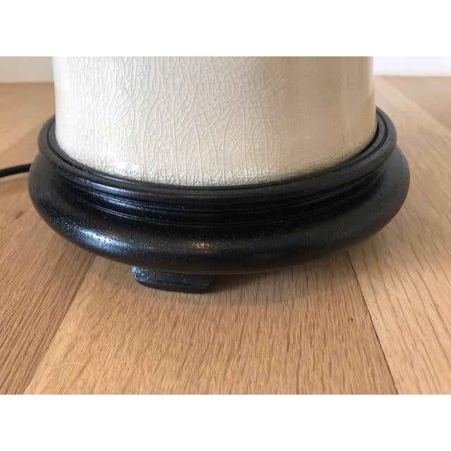 2010s Asian Modern Cream Crackle Glaze Table Lamp With Black Linen Tapered Drum Shade For Sale - Image 5 of 7