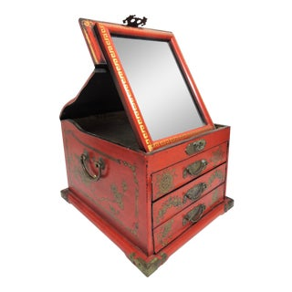 Vintage Chinese Red Lacquer Dragon & Pheonix Mirrored Vanity or Jewelry Box For Sale