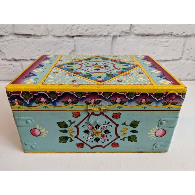 Folk Art Vintage Mid-Century Folk Art Painted Wooden Box For Sale - Image 3 of 11