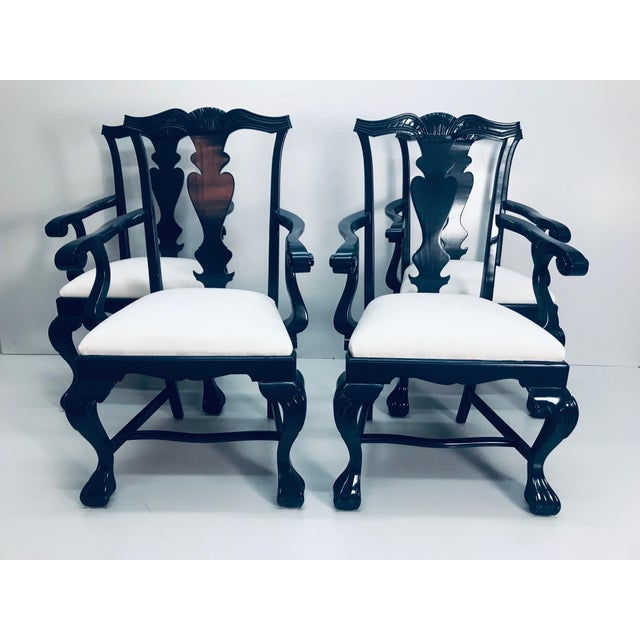 1960s Vintage Traditional Oak Chippendale Chairs - Set of 4 For Sale - Image 9 of 9