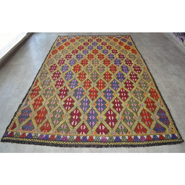 Masterpice Hand Woven Vintage Braided Turkish Rug Wool Kilim Jajim- 5′7″ × 9′2″ For Sale - Image 4 of 11