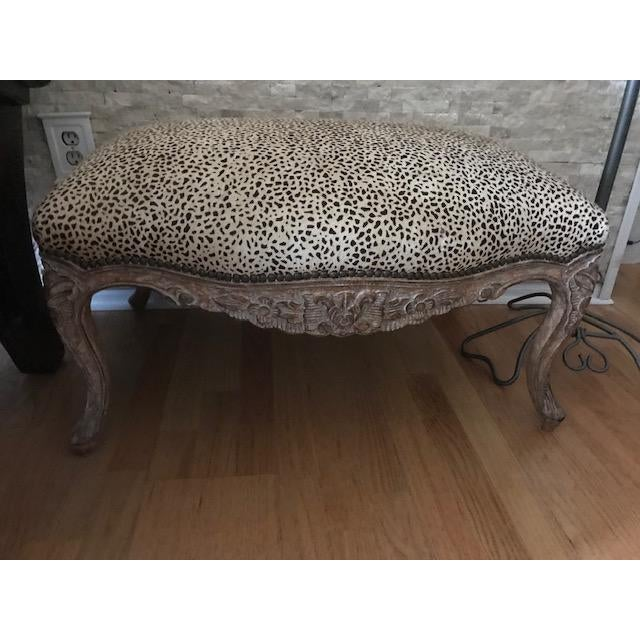 Contemporary Leopard Print Ottoman Chairish