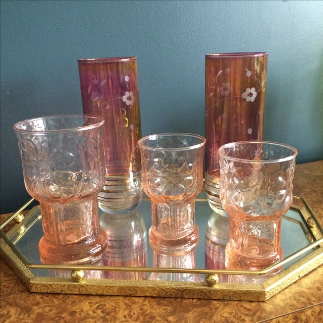 Brass Mirrored Tray With Pink Vintage Barware - Image 5 of 10
