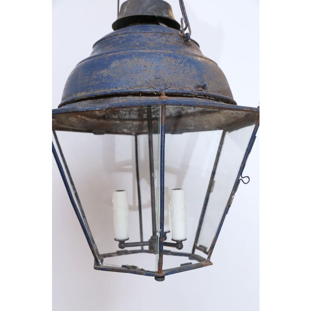 Late 19th Century Large Late 19th Century Blue-Painted Lantern For Sale - Image 5 of 11