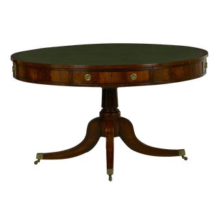 19th Century English Regency Period Antique Green Leather Drum Rent Table For Sale