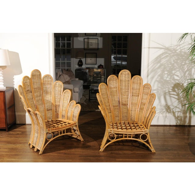 Mid-Century Modern Majestic Restored Pair of Vintage Rattan and Wicker Palm Frond Club Chairs For Sale - Image 3 of 11