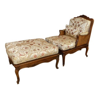 Vintage French Louis XV Carved Wood and Cane Bergere Chair With Ottoman For Sale