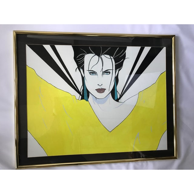 Patrick Nagel Inspired Original Painting - Woman in Yellow Sweater - Image 9 of 11