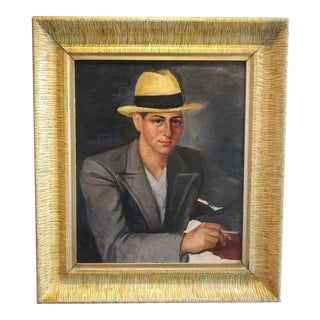 1950's American Gangster Portrait Oil on Canvas For Sale