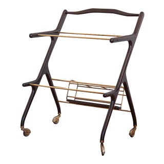 1960's Ico Parisi Bar Cart Walnut With Brass For Sale