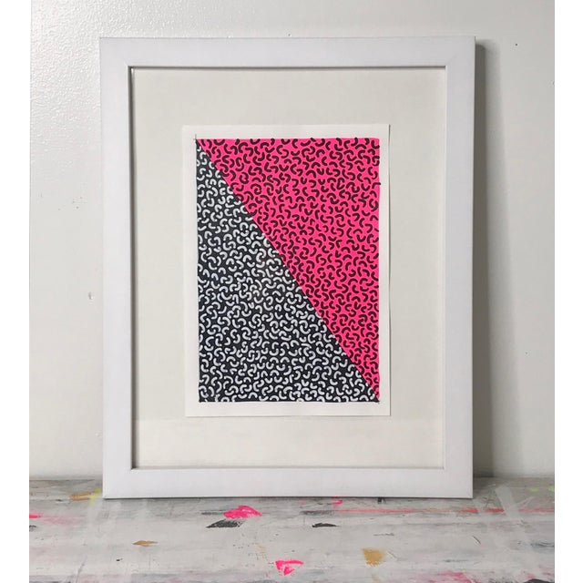 Framed Contemporary Abstract Neon Pink Painting For Sale In New York - Image 6 of 6