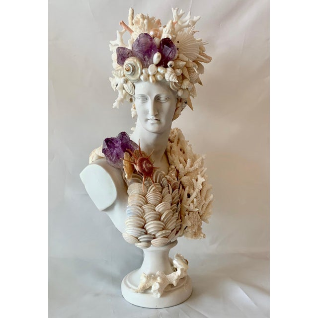 2010s Greek Artemis in Shells Corals and Amethyst Sculpture For Sale - Image 5 of 6