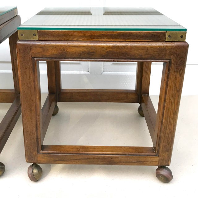 Mid-Century Rolling Cane Tables - a Pair - Image 4 of 5
