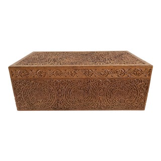 Hand-Carved Wooden Trunk For Sale