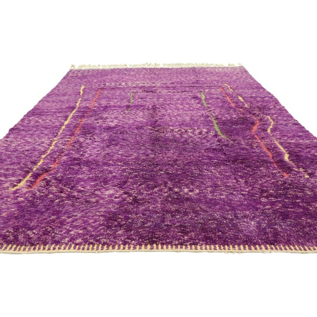 Postmodern Purple Berber Contemporary Moroccan Rug - 06'10 X 10'00 For Sale - Image 3 of 10