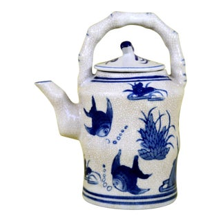 Blue and White Teapot With Hand-Painted Fish For Sale