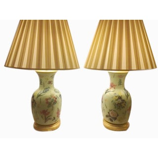 Floral Porcelain Ginger Jar Lamps - A Pair For Sale