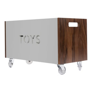 Toy Box Chest on Casters in Walnut With Gray Finish For Sale