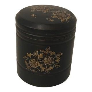 Vintage Japanese Hand Painted Tea Caddy Jar For Sale