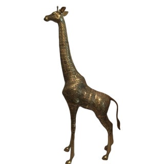 Large Detailed Brass Giraffe For Sale