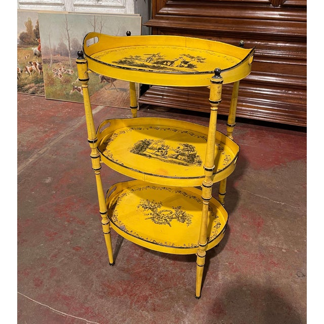 Mid-Century French Hand Painted Three-Tier Tole Side Table For Sale - Image 9 of 9