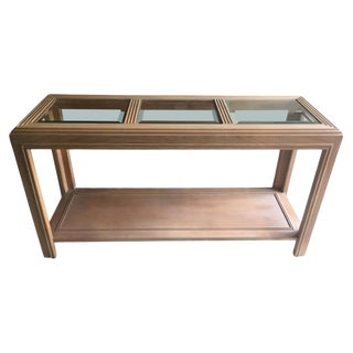 1970s Mid-Century Modern Weathered White Wood Console For Sale