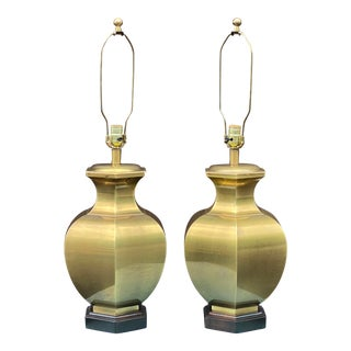 Frederick Cooper Brass Ginger Jar Lamps - a Pair For Sale