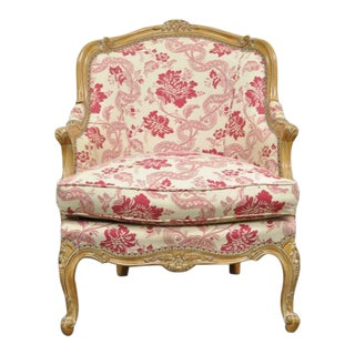 20th Century Vintage Floral Carved French Louis XV Style Pink Bergere For Sale