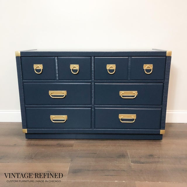 Brass 1960s English Traditional Navy Lacquer Drexel Dresser For Sale - Image 7 of 7