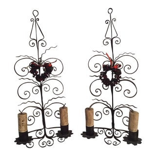 Italian Metal Scroll Candle Sconces - A Pair For Sale