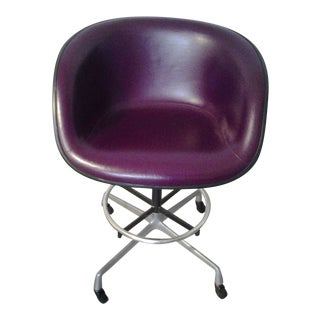 1970's Eames Designed Leather Upholstered Molded Fiberglass Drafting/Bar Mobile Chair For Sale