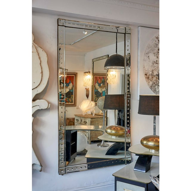1920s Original Pair of Large Venetian Mirrors With Mirrored Borders For Sale - Image 5 of 6