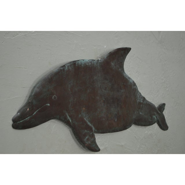 Hammered Copper Weathered Dolphin Wall Sculpture For Sale - Image 5 of 10