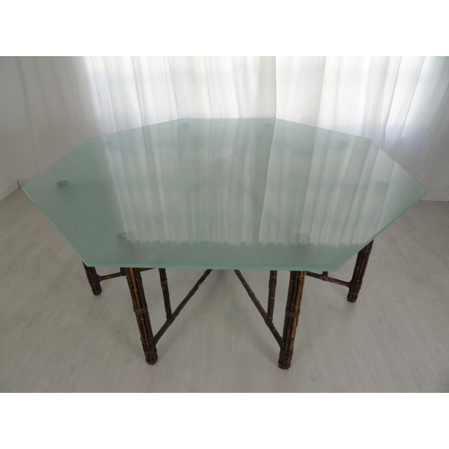 Classic iconic McGuire octagonal bamboo and rattan dining table with custom and unique sand blasted octagonal beveled...