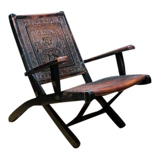 1900s Vintage Folding Leather and Wood Frame Armchair For Sale