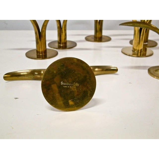 Circa 1950 Grouping of 11 Swedish Ystad Metall Brass Candleholders For Sale In Richmond - Image 6 of 11