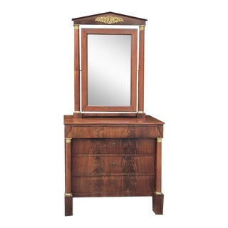 19th Century French Empire Mahogany Dresser With Mirror For Sale