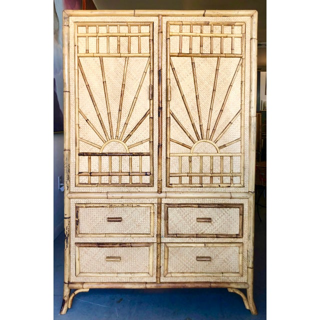 Vintage Rattan Burnt Bamboo Armoire For Sale - Image 13 of 13