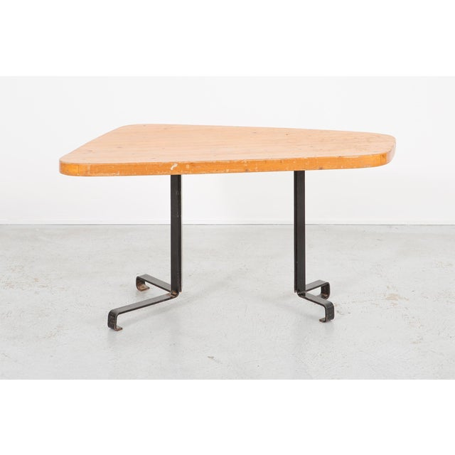 """""""Forme Libre"""" table designed by Charlotte Perriand for Les Arcs France, c 1960s pine + lacquered iron 25 ¾"""" h x 51 ½"""" w x..."""