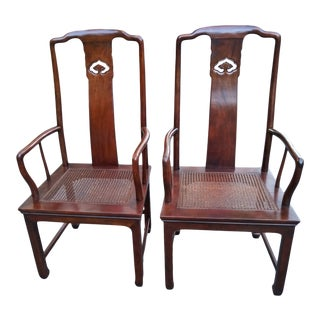 Mid 20th Century Henredon Pan Asian Dining Arm Chairs - a Pair For Sale